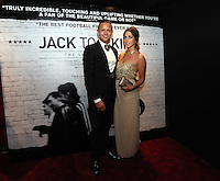 """Pictured: Club ambassador and former footballer Lee Trundle with his girlfriend. Friday 12 September 2014<br /> Re: Premiere of """"Jack To A King"""" a film about the history of Swansea City Football Club, at The Empire Cinema in Leicester Square, London, UK."""