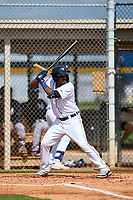 FCL Tigers West Adinso Reyes (28) bats during a game against the FCL Yankees on July 31, 2021 at Tigertown in Lakeland, Florida.  (Mike Janes/Four Seam Images)