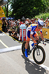 Mark Renshaw (AUS) Rabobank starts the Prologue of the 99th edition of the Tour de France 2012, a 6.4km individual time trial starting in Parc d'Avroy, Liege, Belgium. 30th June 2012.<br /> (Photo by Eoin Clarke/NEWSFILE)