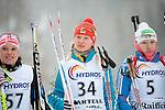 MARTELL-VAL MARTELLO, ITALY - FEBRUARY 02: BONDAR Iana (UKR) before the flower ceremony after the Women 7.5 km Sprint at the IBU Cup Biathlon 6 on February 02, 2013 in Martell-Val Martello, Italy. (Photo by Dirk Markgraf)