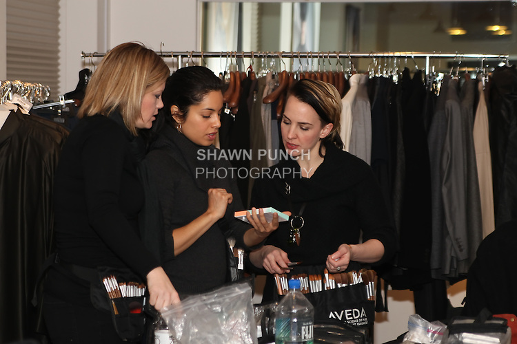 Backstage at the Blanc de Chine Fall/Winter 2011 collection runway fashion show, during New York Fashion Week Fall 2011.