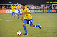 Andre Santos (6) of Brazil. The men's national team of Brazil (BRA) defeated the United States (USA) 2-0 during an international friendly at the New Meadowlands Stadium in East Rutherford, NJ, on August 10, 2010.