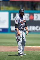 Inland Empire 66ers manager Ryan Barba (6) during a California League game against the Lake Elsinore Storm on April 14, 2019 at The Diamond in Lake Elsinore, California. Lake Elsinore defeated Inland Empire 5-3. (Zachary Lucy/Four Seam Images)