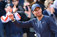 5th June 2021; Roland Garros, Paris France; French Open tennis championships day 7;   Rafael Nadal - Esp  thanks the fans after his win
