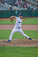 Austin Drury (40) of the Ogden Raptors delivers a pitch to the plate against the Idaho Falls Chukars at Lindquist Field on July 2, 2018 in Ogden, Utah. The Raptors defeated the Chukars 11-7. (Stephen Smith/Four Seam Images)