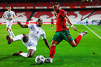 14th November 2020, The Estádio da Luz, Lisbon, Portugal; Nations League International football, Portugal versus France; Bruno Fernandes of Portugal crosses as Paul Pogba of France comes in to attempt to block