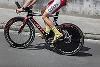 Kenneth Vanbilsen (BEL/Cofidis) on a pre race parcours recon.<br /> <br /> Baloise Belgium Tour 2018<br /> Stage 3: ITT Bornem - Bornem (10.6km)