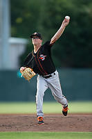 Delmarva Shorebirds Alex Wells (31) delivers a pitch to the plate against the Kannapolis Intimidators at Kannapolis Intimidators Stadium on June 30, 2017 in Kannapolis, North Carolina.  The Shorebirds defeated the Intimidators 6-4.  (Brian Westerholt/Four Seam Images)