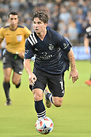 KANSAS CITY, KS - AUGUST 10: Grayson Barber #19 Sporting KC with the ball during a game between Club Leon and Sporting Kansas City at Children's Mercy Park on August 10, 2021 in Kansas City, Kansas.