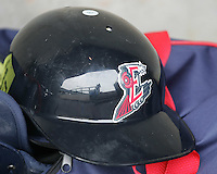 Round Rock Express helmet. Photo by Andrew Woolley/ Four Seam Images.