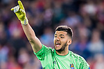 Goalkeeper Geronimo Rulli of Real Sociedad reacts during their La Liga match between Atletico de Madrid vs Real Sociedad at the Vicente Calderon Stadium on 04 April 2017 in Madrid, Spain. Photo by Diego Gonzalez Souto / Power Sport Images