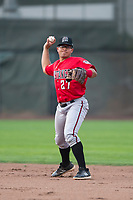 Billings Mustangs second baseman Dylan Harris (27) throws to first base during a Pioneer League game against the Ogden Raptors at Lindquist Field on August 17, 2018 in Ogden, Utah. The Billings Mustangs defeated the Ogden Raptors by a score of 6-3. (Zachary Lucy/Four Seam Images)