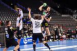 Julius Kuehn (Deutschland #35) ; Armi Paert (Estland #50) ; EHF EURO-Qualifikation / EM-Qualifikation / Handball-Laenderspiel: Deutschland - Estland am 02.05.2021 in Stuttgart (PORSCHE Arena), Baden-Wuerttemberg, Deutschland.<br /> <br /> Foto © PIX-Sportfotos *** Foto ist honorarpflichtig! *** Auf Anfrage in hoeherer Qualitaet/Aufloesung. Belegexemplar erbeten. Veroeffentlichung ausschliesslich fuer journalistisch-publizistische Zwecke. For editorial use only.