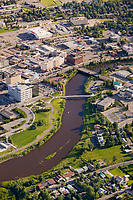 Aerial of the Chena River and the golden heart plaza in downtown Fairbanks, Alaska.