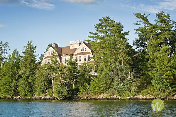 Lake George, Adirondack State Park, NY. Blythewood Mansion at Gull Bay.