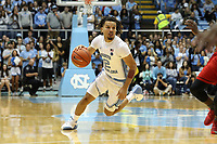 CHAPEL HILL, NC - NOVEMBER 01: Cole Anthony #2 of the University of North Carolina dribbles the ball during a game between Winston-Salem State University and University of North Carolina at Dean E. Smith Center on November 01, 2019 in Chapel Hill, North Carolina.