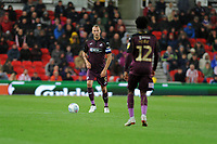 Mike van der Hoorn of Swansea City in action during the Sky Bet Championship match between Stoke City and Swansea City at the Bet 365 Stadium in Stoke on Trent, England, UK. Tuesday 18 September 2018