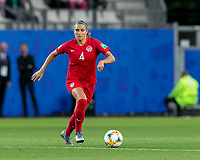 GRENOBLE, FRANCE - JUNE 15: Shelina Zadorsky #4 of the Canadian National Team dribbles at midfield during a game between New Zealand and Canada at Stade des Alpes on June 15, 2019 in Grenoble, France.