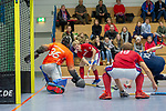 GER - Mannheim, Germany, December 08: During the 1. Bundesliga Sued Herren indoor hockey match between Mannheimer HC (red) and HTC Stuttgarter Kickers (blue) on December 8, 2018 at Irma-Roechling-Halle in Mannheim, Germany. Final score 15-2. (Photo by Dirk Markgraf / www.265-images.com) *** Local caption ***