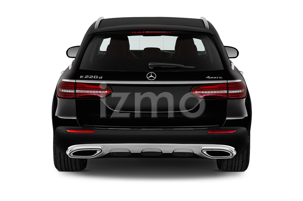 Straight rear view of 2021 Mercedes Benz E-Class All-terrain-Avantgarde 5 Door Wagon Rear View  stock images