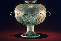 """China:  Food container (dou), Eastern Zhou, late 6th-5th C. B.C.  8 1/8 """" high bronze. Shanghai Museum.  Great Bronze Age of China--exhibition."""
