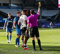 5th April 2021; Liberty Stadium, Swansea, Glamorgan, Wales; English Football League Championship Football, Swansea City versus Preston North End; Jamal Lowe of Swansea City receives a Yellow card from Referee Peter Bankes for simulation in the 64th minute