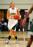 5 December 2009: University of Vermont Catamount forward Kelli Hier, a Junior from Winooski, VT, in action against the Manhattan College Jaspers at Patrick Gymnasium in Burlington, Vermont. The Catamounts defeated the visiting Jaspers 78-59 to mark the Lady Cats' second home win of the season. Mandatory Credit: Ed Wolfstein Photo