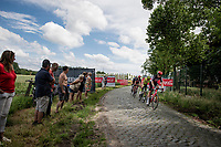 First breakaway group of the day led by Brent Van Moer (BEL/Lotto Soudal) over the rough cobbles.<br /> <br /> Belgian National Championships 2021 - Road Race<br /> <br /> One day race from Waregem to Waregem (221km)<br /> <br /> ©kramon