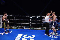Owen Cooper (black shorts) defeats Daryl Pearce during a Boxing Show at York Hall on 24th April 2021