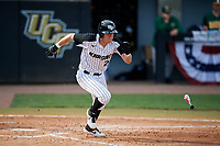 UCF Knights designated hitter Chandler Robertson (22) runs to first base during a game against the Siena Saints on February 17, 2019 at John Euliano Park in Orlando, Florida.  UCF defeated Siena 7-1.  (Mike Janes/Four Seam Images)