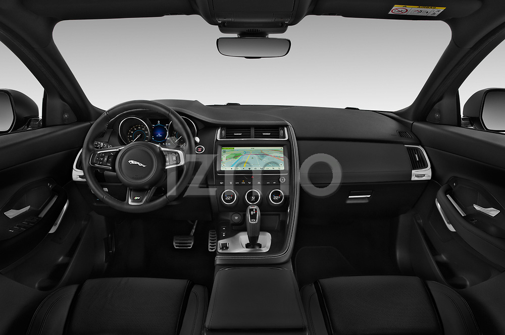 Stock photo of straight dashboard view of a 2018 Jaguar E-PACE R-Dynamic S 4WD 5 Door SUV