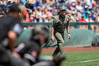 Vanderbilt Commodores head coach Tim Corbin (4) during the NCAA College World Series against the Louisville Cardinals on June 16, 2019 at TD Ameritrade Park in Omaha, Nebraska. Vanderbilt defeated Louisville 3-1. (Andrew Woolley/Four Seam Images)