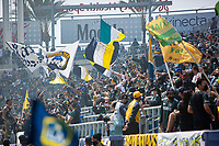 CARSON, CA - APRIL 25: Los Angeles Galaxy fans during a game between New York Red Bulls and Los Angeles Galaxy at Dignity Health Sports Park on April 25, 2021 in Carson, California.