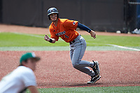 Chase Keng (4) of the UTSA Roadrunners takes off for second base against the Charlotte 49ers at Hayes Stadium on April 18, 2021 in Charlotte, North Carolina. (Brian Westerholt/Four Seam Images)