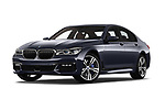 Stock pictures of low aggressive front three quarter view of a 2018 BMW 7 Series M Sport 4 Door Sedan