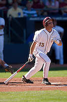 Jason Stidham #13 of the Florida State Seminoles follows through on his swing versus the Boston College Eagles at Durham Bulls Athletic Park May 20, 2009 in Durham, North Carolina. (Photo by Brian Westerholt / Four Seam Images)