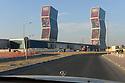 Doha Qatar novembre 2010. Le zig zag towers sono state utilizzate per pubblicizzare la corsa vincente del Qatar verso i mondiali di calcio del 2022. Zig zag Towers have been used to advertise the succesful Qatari bid for the 2022 World Fifa Cahmpionship.
