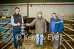 The reserve champion bullock owned by Gerard Hanlon (Causeway) cente, Ronan Barron (Causeway) and being presented by Eoin McCarthy (Kilmoyley) in the Tralee Annual Christmas Show and Sale on Monday