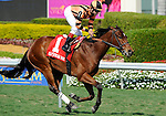 Little Mike (no. 1), ridden by Joe Bravo and trained by Dale Romans, wins the  60th running of the grade 3 Appleton Stakes for four year olds and upward on April 3, 2011 at Gulfstream Park in Hallandale Beach, Florida.  (Bob Mayberger/Eclipse Sportswire)