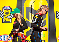 Sep 15, 2019; Mohnton, PA, USA; NHRA top fuel driver Brittany Force (left) and Leah Pritchett during the Reading Nationals at Maple Grove Raceway. Mandatory Credit: Mark J. Rebilas-USA TODAY Sports