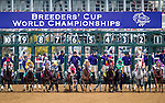 October 31, 2015 : The field leaves the starting gate during the 14 Hands Winery Breeders' Cup Juvenile Fillies (Grade I) in Lexington, Kentucky on October 31, 2015. Jon Durr/ESW/CSM