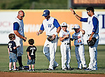 Fort Worth Cats Pitcher Scott Migl (26) greets some young fans before the American Association of Independant Professional Baseball game between the Grand Prairie AirHogs and the Fort Worth Cats at the historic LaGrave Baseball Field in Fort Worth, Tx. Fort Worth defeats Grand Prairie 6 to 1.....