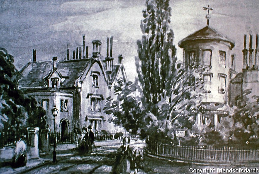 Park Village East and Serpentine Road, c. 1840.  Designed by John Nash. Historical print. Regent's Park, London.
