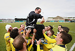 Aberystwyth Town 1 Newtown 2, 17/05/2015. Park Avenue, Europa League Play Off final. Newtown Manager Chris Hughes is thrown into the air by his players. Aberystwyth finished 14 points above Newtown in the Welsh Premier League, but were beaten 1-2 in the Play Off Final. Photo by Paul Thompson.