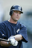 John Vander Wal of the New York Yankees before a 2002 MLB season game against the Los Angeles Angels at Angel Stadium, in Anaheim, California. (Larry Goren/Four Seam Images)