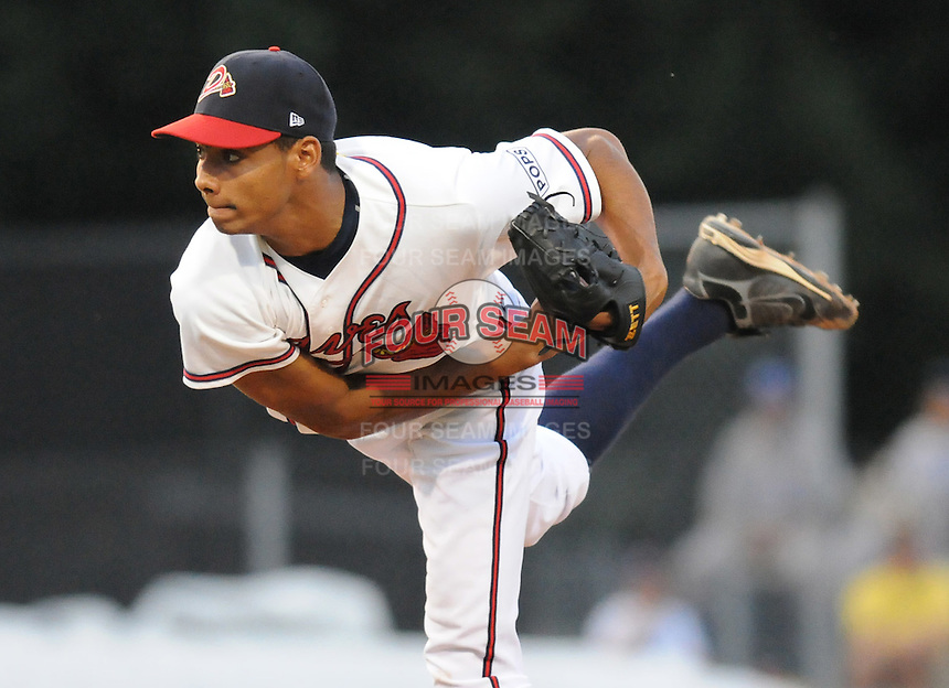 June 19, 2008: RHP Angelo Paulino (15) of the Danville Braves, rookie Appalachian League affiliate of the Atlanta Braves, in a game against the Burlington Royals at Dan Daniel Memorial Park in Danville, Va. Photo by:  Tom Priddy/Four Seam Images