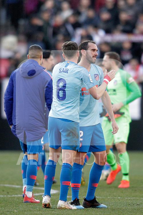 Atletico de Madrid's Saul Niguez and Diego Godin celebrate victory during La Liga match. February 16,2019. (ALTERPHOTOS/Alconada)