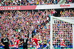 Atletico de Madrid's fans celebrate the second goal of the team during the La Liga 2017-18 match between Atletico de Madrid and Sevilla FC at the Wanda Metropolitano on 23 September 2017 in Madrid, Spain. Photo by Diego Gonzalez / Power Sport Images