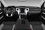 Stock photo of straight dashboard view of a 2020 Toyota Tundra SR5 5.7L Crew Max 4WD Short Bed 4 Door Pick Up