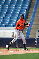 Will Benson (21) of The Westminster Schools in Atlanta, Georgia playing for the Baltimore Orioles scout team during the East Coast Pro Showcase on July 28, 2015 at George M. Steinbrenner Field in Tampa, Florida.  (Mike Janes/Four Seam Images)
